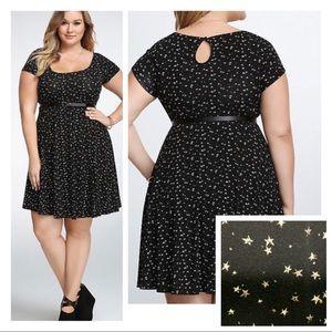 NEWish Torrid dress | stars black white | skater